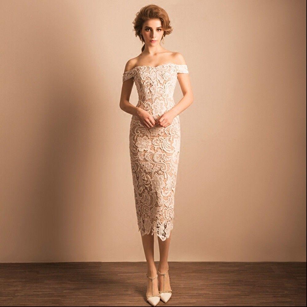 2017 elegante lace chá vestidos de casamento comprimento slim equipado fora do ombro boho primavera new vestidos de noiva