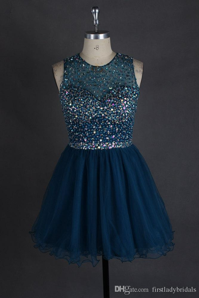 Navy Blue Short Prom Dresses Beaded Real Pictures A-line Backless Style Tulle Homecoming Gowns China Vestido De Festa Curto