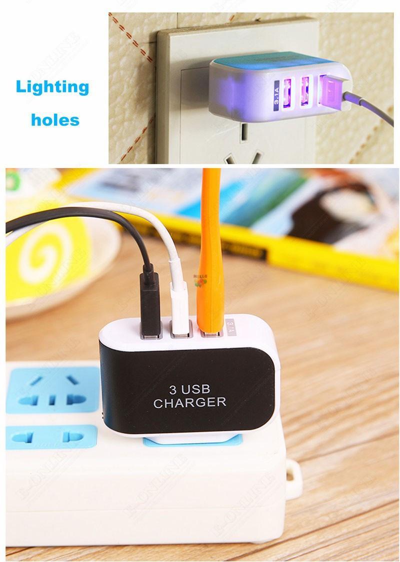 3.1A Triple 3 puertos USB Cargador Home Travel Wall Cargador de corriente alterna Tableta de teléfono Electronic LED Adaptadores de corriente US / EU Plug