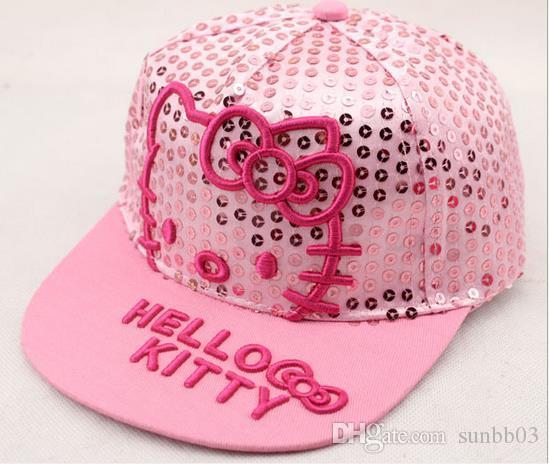 New Baby Kids Hats Children Cartoon Kitty Embroidery Sequins Baseball Caps Girls Peaked Cap Hip-hop Ball Hats Pink Rose 11472