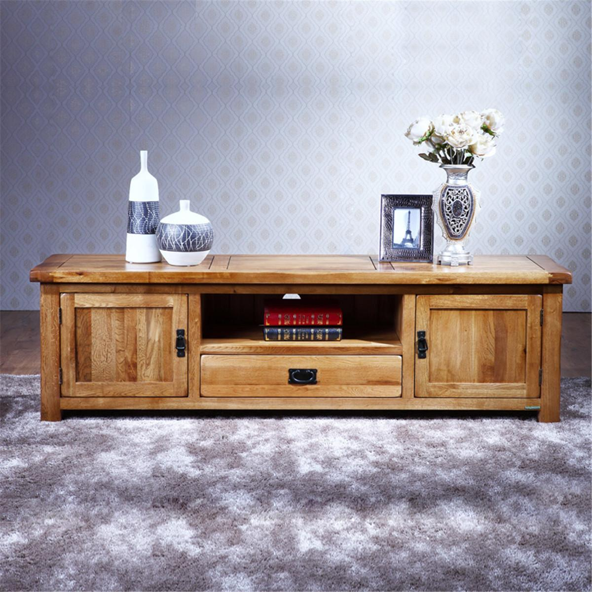 Tv Table With Storage Part - 37: 100% Pure Solid Wood TV Stand Oak TV Stand Media Console Table Soild Wood TV  Storage Cabinet Unit
