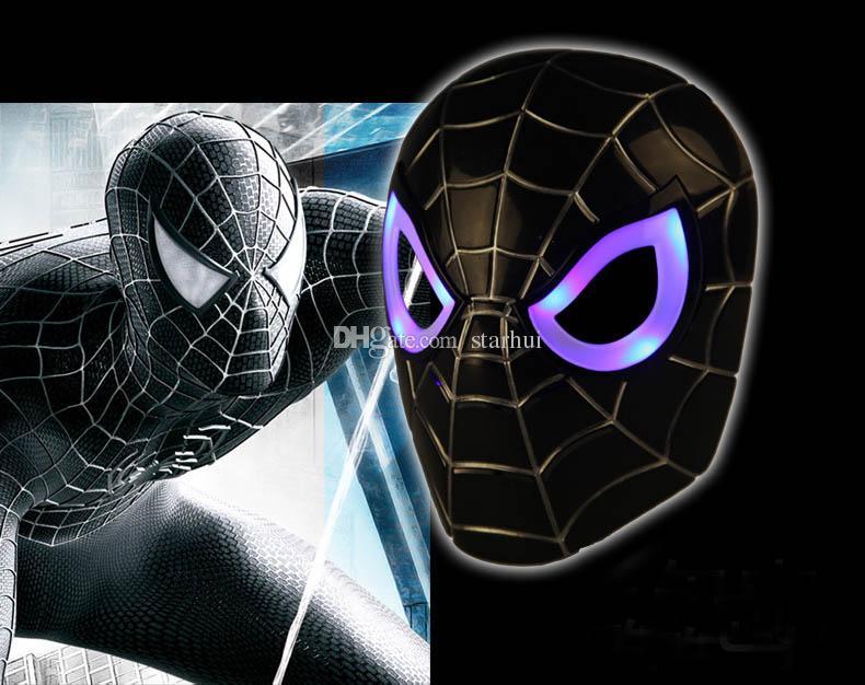 Máscaras de LED Crianças Animação Dos Desenhos Animados Spiderman Máscara de Luz Masquerade Máscaras de Rosto Cheio de Halloween Trajes Do Presente Do Partido WX-C07