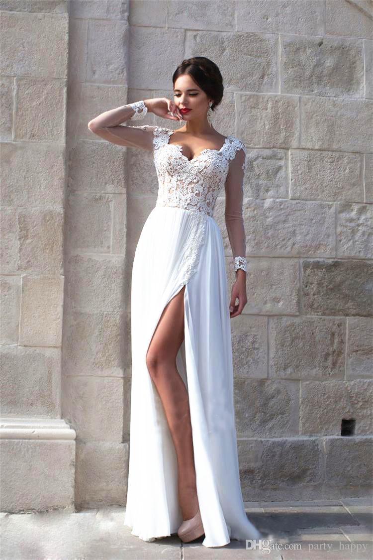 2b56a3dcb7e9 Compre 2016 Vestidos De Novia Calor Aristocrático Calcomanías Vestidos  Blancos Alto Anual Tenedor Abierto Cultivar Mujer Vestidos De Moralidad ...