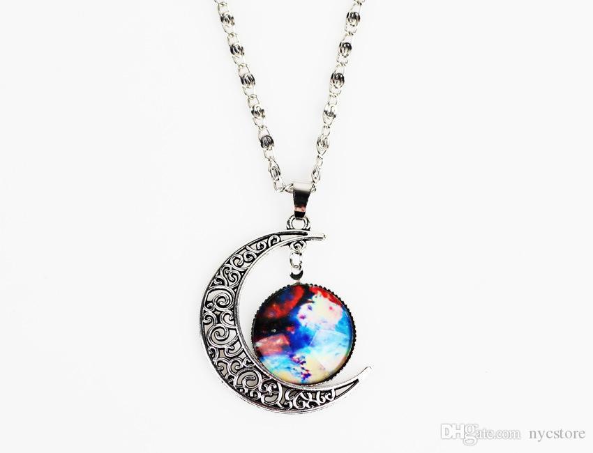 12 Estilos de Moda Jóias Colorido Terra E Forma Da Lua Tempo Pedra Preciosa Colar De Pingente Para As Mulheres Barato Bijuterias