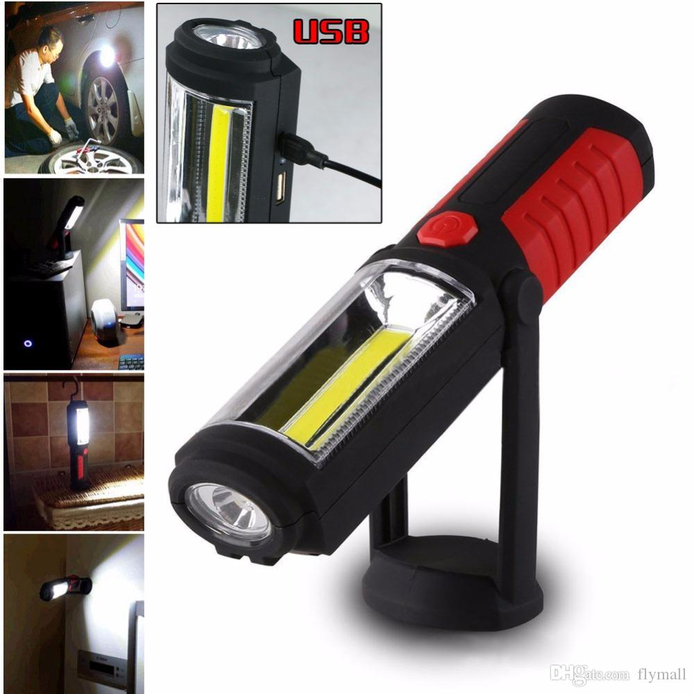 Powerful Portable COB LED Flashlight Magnetic USB Rechargeable Work Light 360 Degree Stand Hanging Torch Lamp with HOOK Camping Light