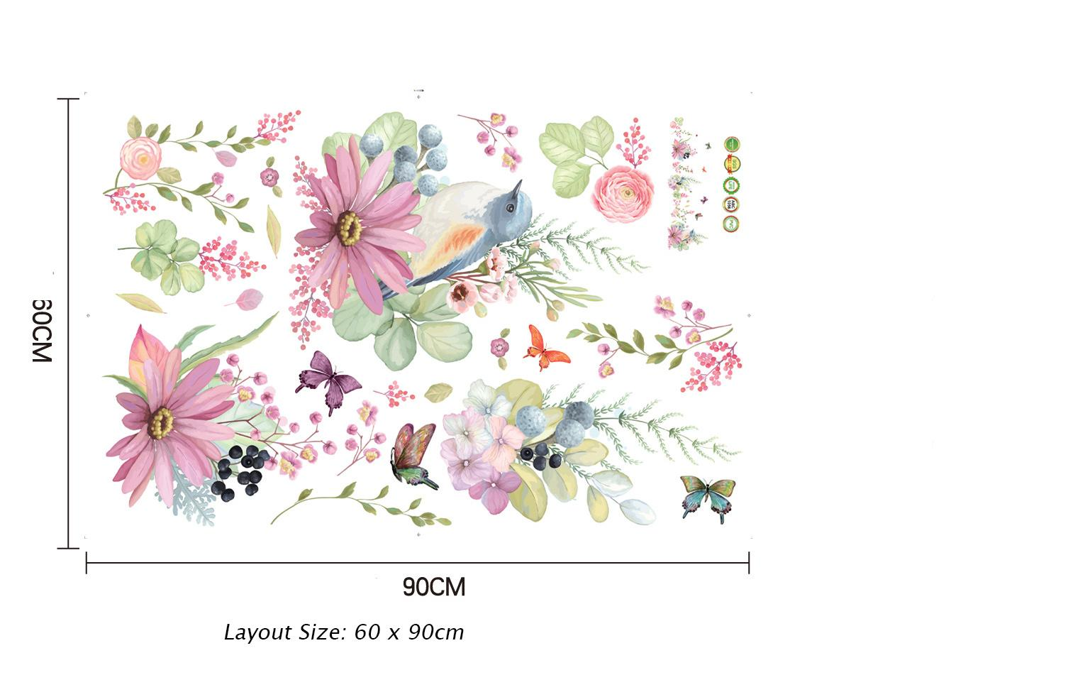 Birds on the Colorful Flowers Butterfly Wall Border Decal Stickers DIY Home Decoration Skirting Line Wall Graphic Creative Removable PVC Art