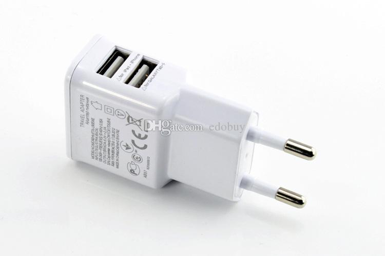 White Dual 2A USB EU Plug Wall Charger For Samsung galaxy S4 S3 S5 S6 Huawei for LG Smart phone