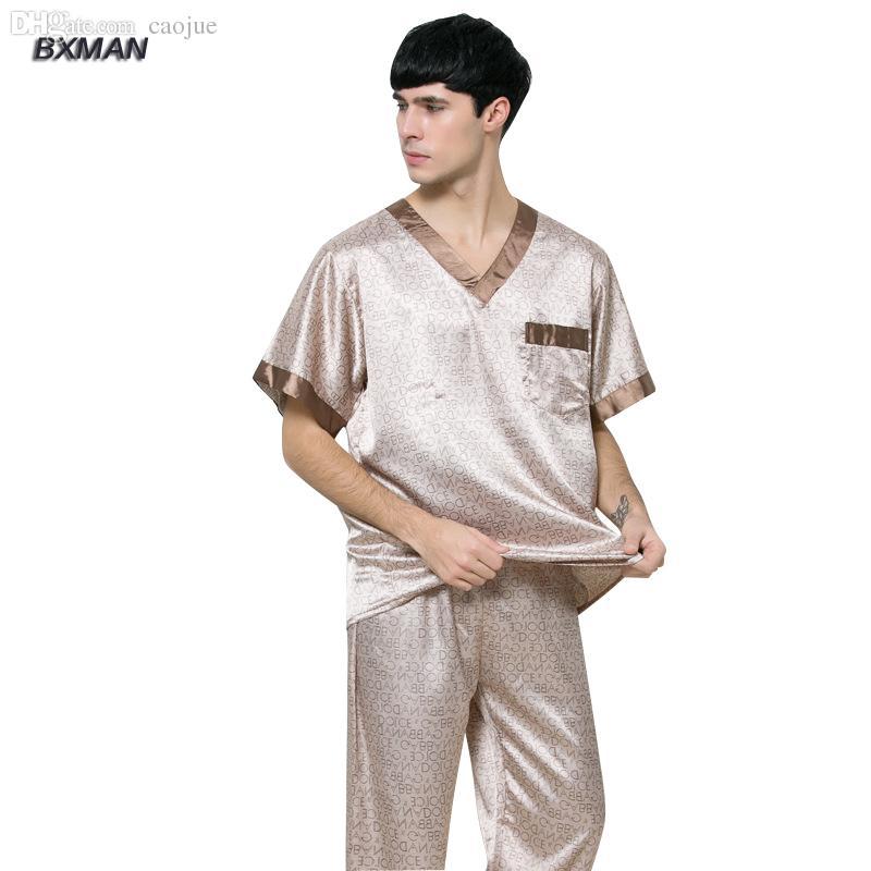 93660e0a861 Wholesale-BXMAN Brand Men s Casual Pijamas Hombre Men s Satin ...