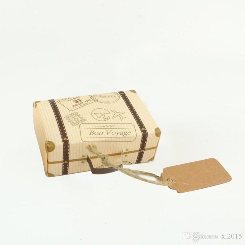 Kraft Paper Wedding Favor Box Chocolate Boxes Vintage Mini Suitcase Candy Box Sweet Bags Wedding Gift Box wen4437