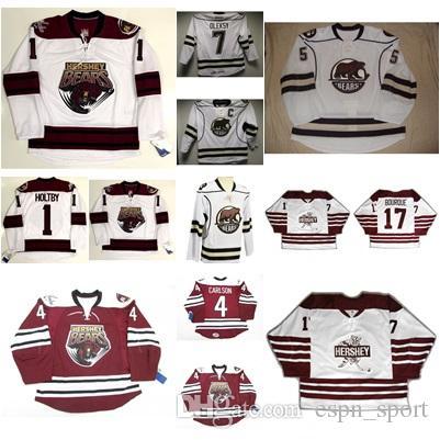 1 Brayden Holtby Mens Womens Kids AHL Hershey Bears 17 Bourque 100%  Embroidery Custom Any Name Any No. Ice Hockey Jerseys Goalit Cut 1 Brayden  Holtby 17 ... 0612cbd42
