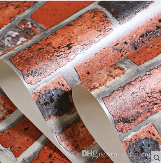 Hot 3D Luxury Wood Blocks Effect Brown Stone Brick 10M PCV Wallpaper Roll Living Room Background Wall Decor Art Wall Paper