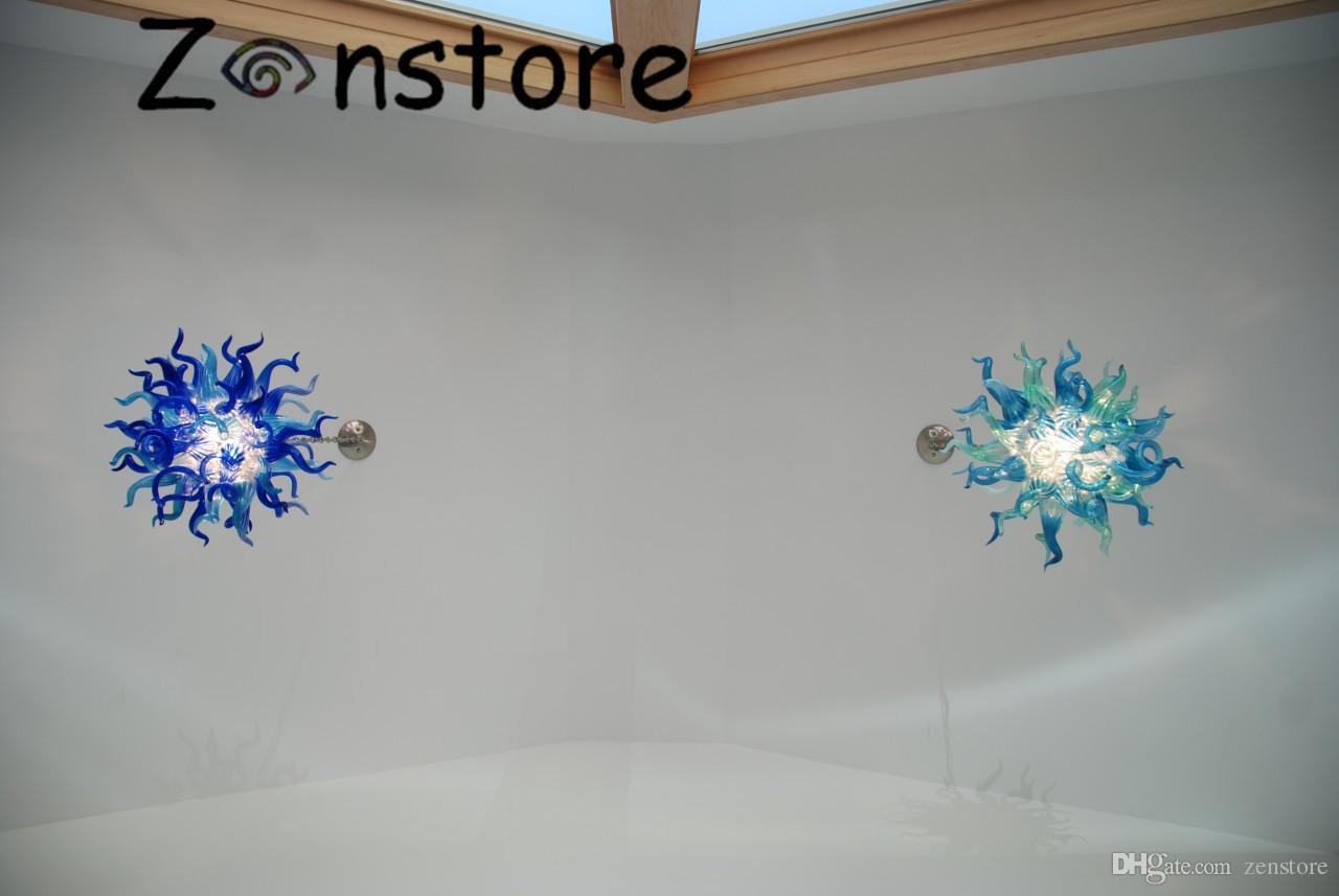 Fantezi Mavi Yeşil küçük Avize Ağız Üflemeli Borosilikat Murano Cam Sanatı Yeni Stil Ev Yapımı Avize Aydınlatma