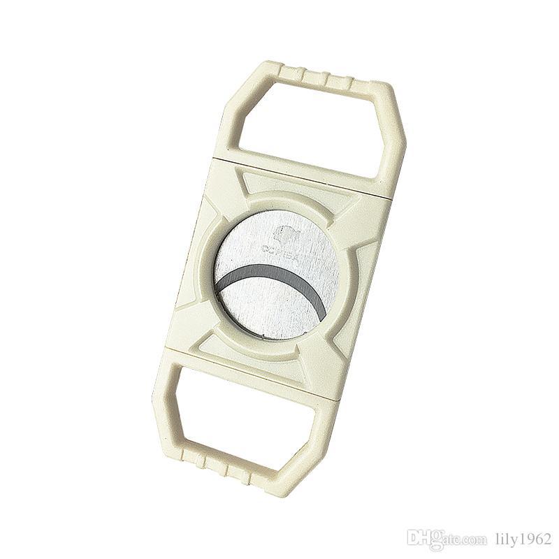 COHIBA frete grátis Por Atacado Do Produto de Cor Branca de Plástico Lidar Com Acessórios Do Tambor Cortador de Charuto Acessórios Portáteis