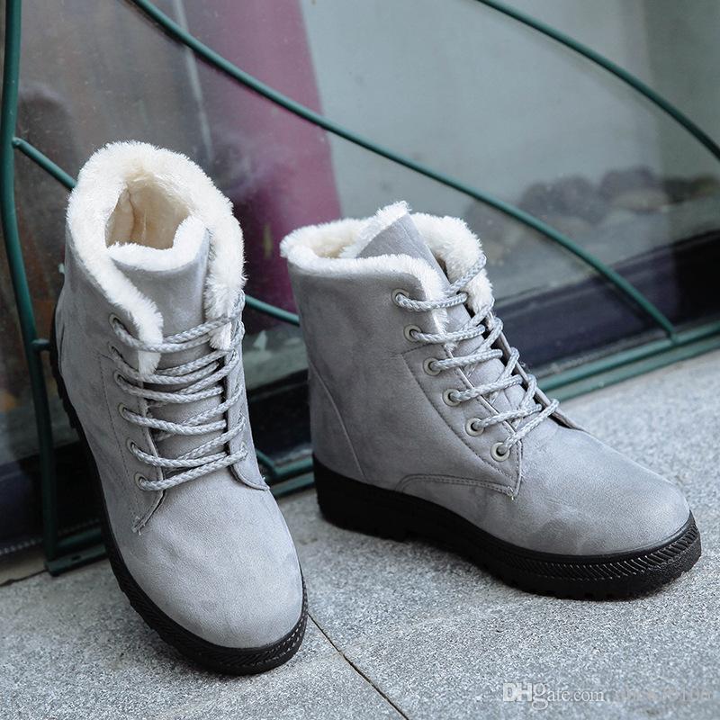 2017 Yeni Kadın Kış Çizmeler Kadın Kış Ayakkabı Düz Topuk Ayak Bileği Rahat Sevimli Sıcak Ayakkabı Moda Kar Botları bayan botları