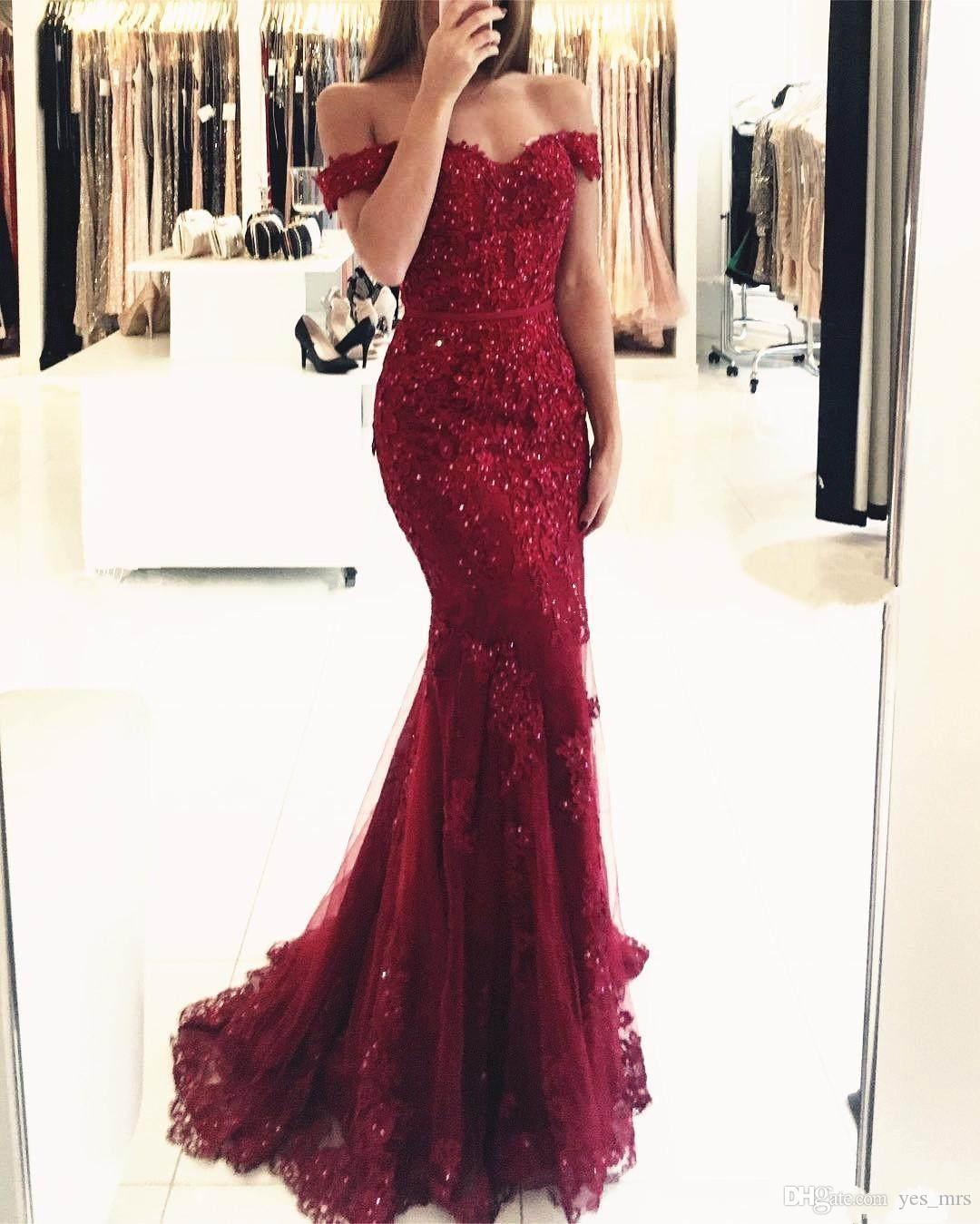 2018 Prom Dresses Off Shoulder Dark Red Lace Appliques Beaded Mermaid Long Open Back Sweep Train Evening Dress Party Pageant Formal Gowns