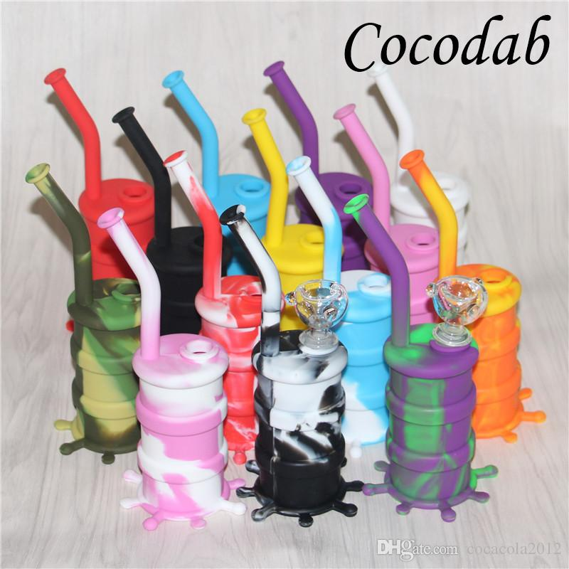 Hot Sale Silicon Rigs Waterpipe Silicone Hookah Bongs Silicon Dab Rigs Cool Shape 5ml silicone container good quality and DHL