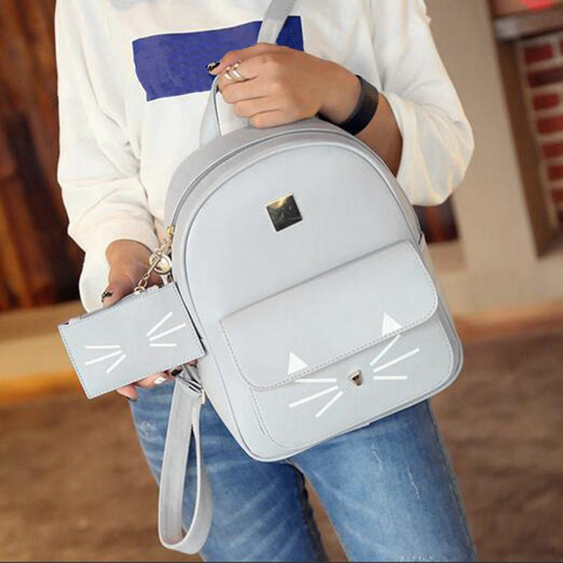 Hot Cat Printing Backpack PU Leather Large Backpacks Women School Bag for Teenage Girls Children Book Bag Mochila WM04X