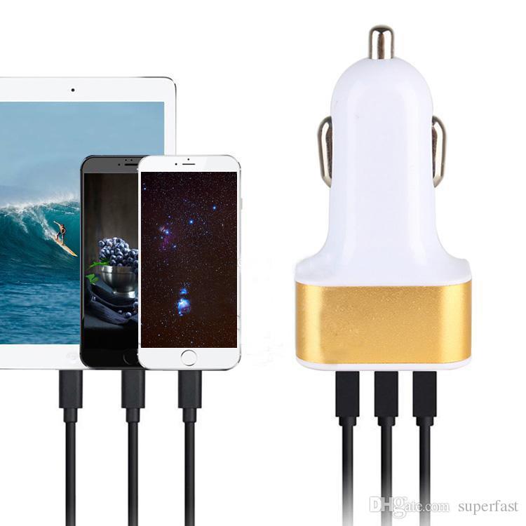 Cargador de coche USB de 3 puertos para iPhone X 8 7 Adaptador de viaje Enchufe de coche Cargador USB de coche triple para iPad Tablet sin paquete