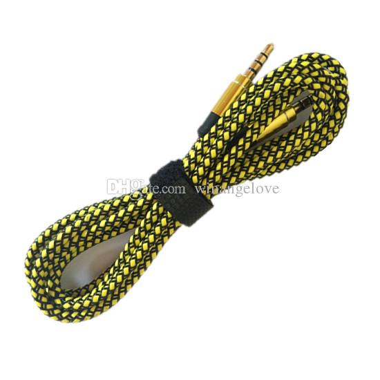 3.5 мм вспомогательный AUX расширение аудио кабель непрерывной металлической ткани плетеный мужской стерео шнур 1.5 м 3 м для iphone Samsung MP3 спикер планшет