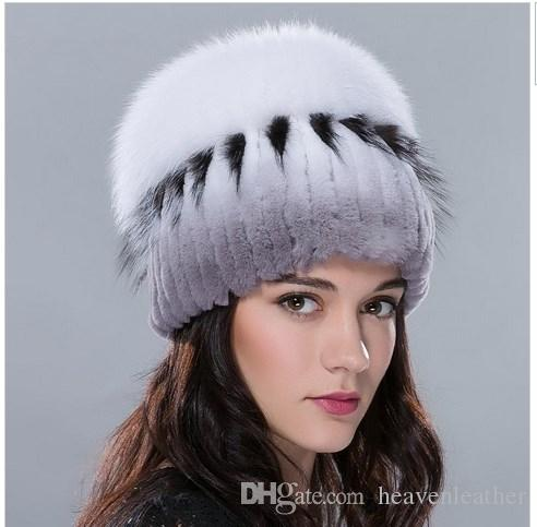 Russia fur hat for women winter rex rabbit fur hat with fox fur top female elastic knitted cap 2016 new fashion high-end beanies