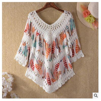 8d377cdd69 2019 Printed Beach Bikini Cover Ups Women Summer Crochet Bohemian Seaside  Sunscreen Blouses Tassel V Neck Hollow Swimwear Beachwear Shirts Tops From  ...