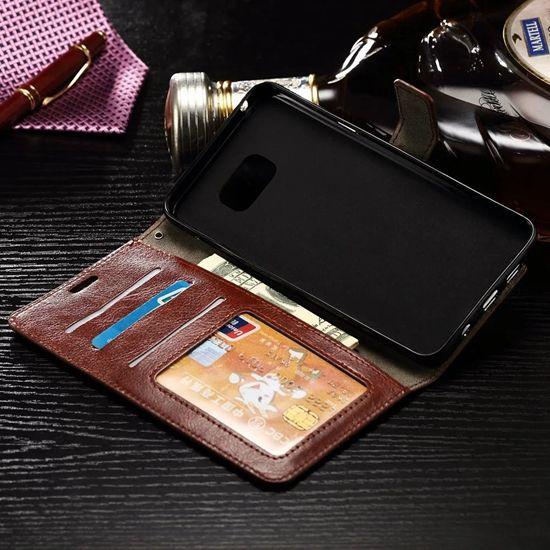 Custodia portafoglio in pelle retrò Crazy Horse Iphone 7 I7 Plus Custodia Samsung Galaxy J1 Mini J210 LG X Power V20 copertura Huawei Mate9 ID Card