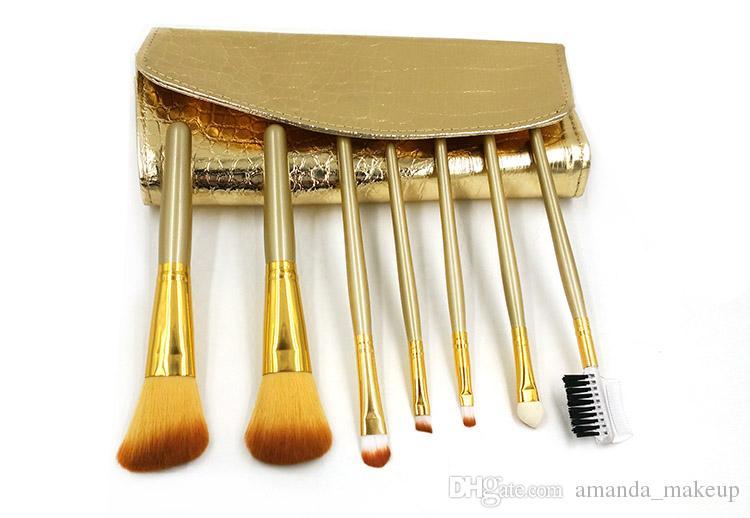 ¡Caliente! 7 unids Maquillaje Pinceles Con Funda de Cuero de LA PU Los colores dorados componen el cepillo para las mujeres Pro Cosmetic Brush Tools Kit Envío Gratis