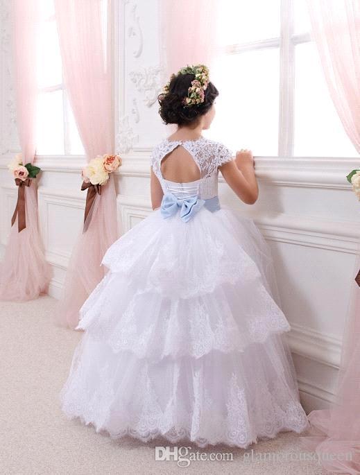 Vestidos de primera comunión para niñas Vestidos de niña de flores de encaje con espalda abierta Vestidos de niñas blancas Vestidos de noche para niñas