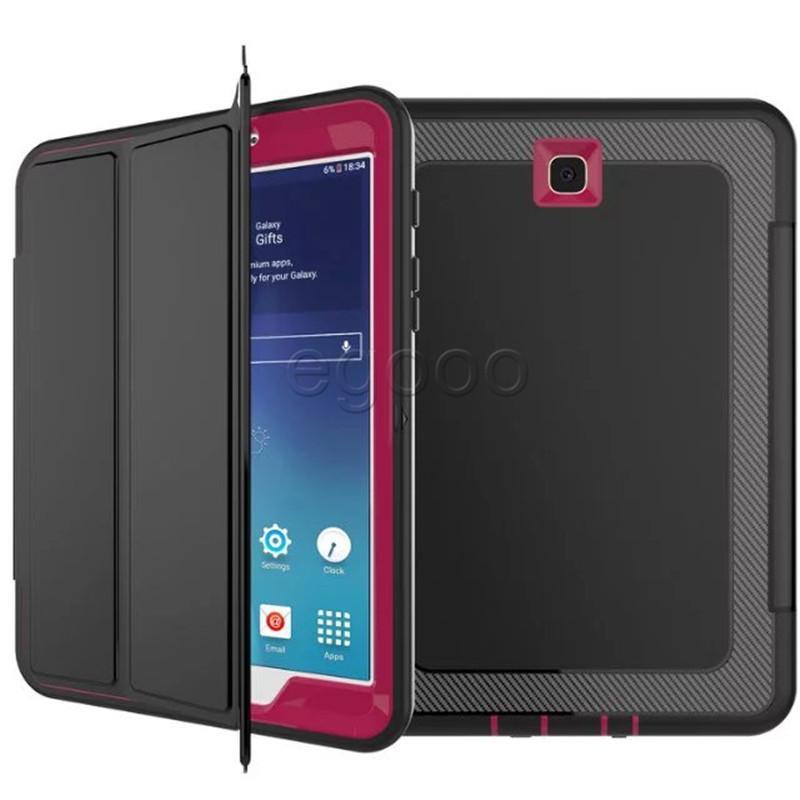 حقيبة جلد الغطاء الواقي PU + TPU + PC لسامسونج T560 T580 T710