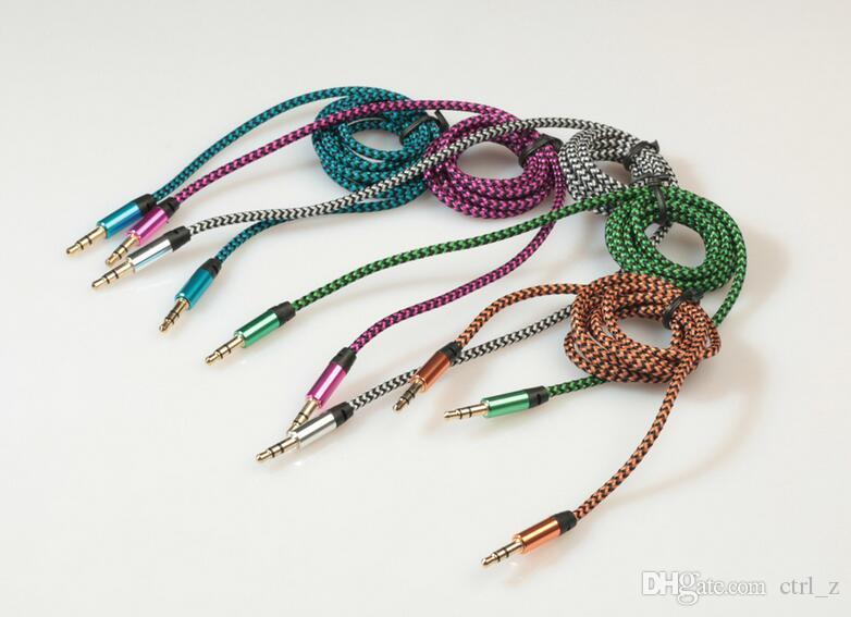 Colorful 1M 3FT Metal Head Woven Fabric Braided Auxiliary Aux Audio Cable 3.5mm Jack Male to Male Car Cable Cord