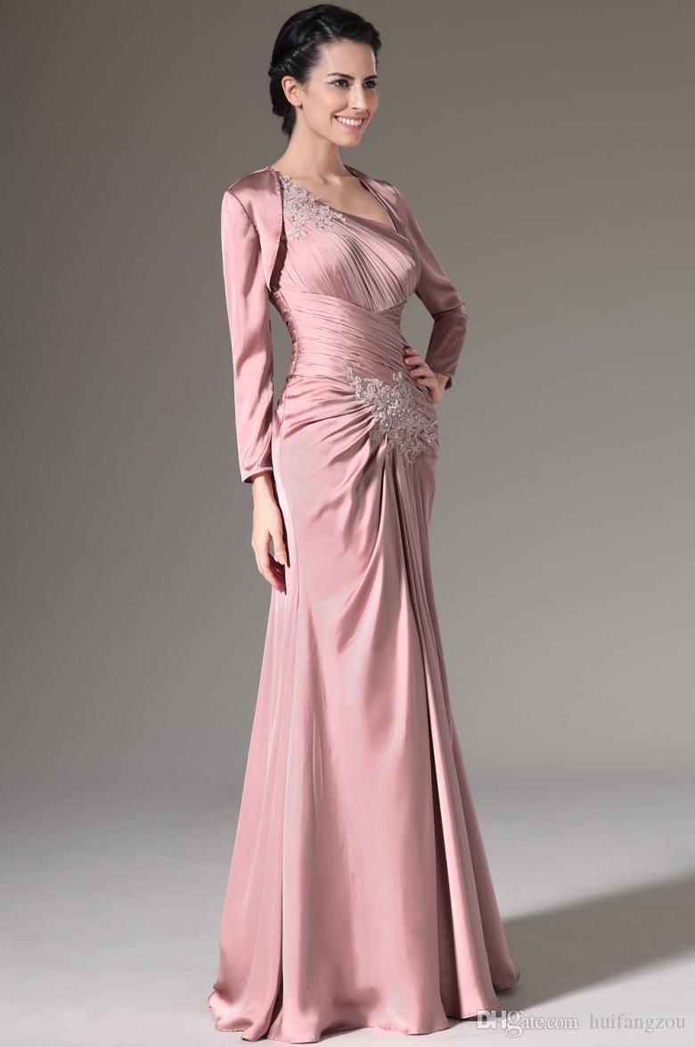 Elegant Satin Mother Of The Bride Dresses One Shoulder Neckline Sheath Dress With Jacket Appliques Long Gowns For Mother Bride