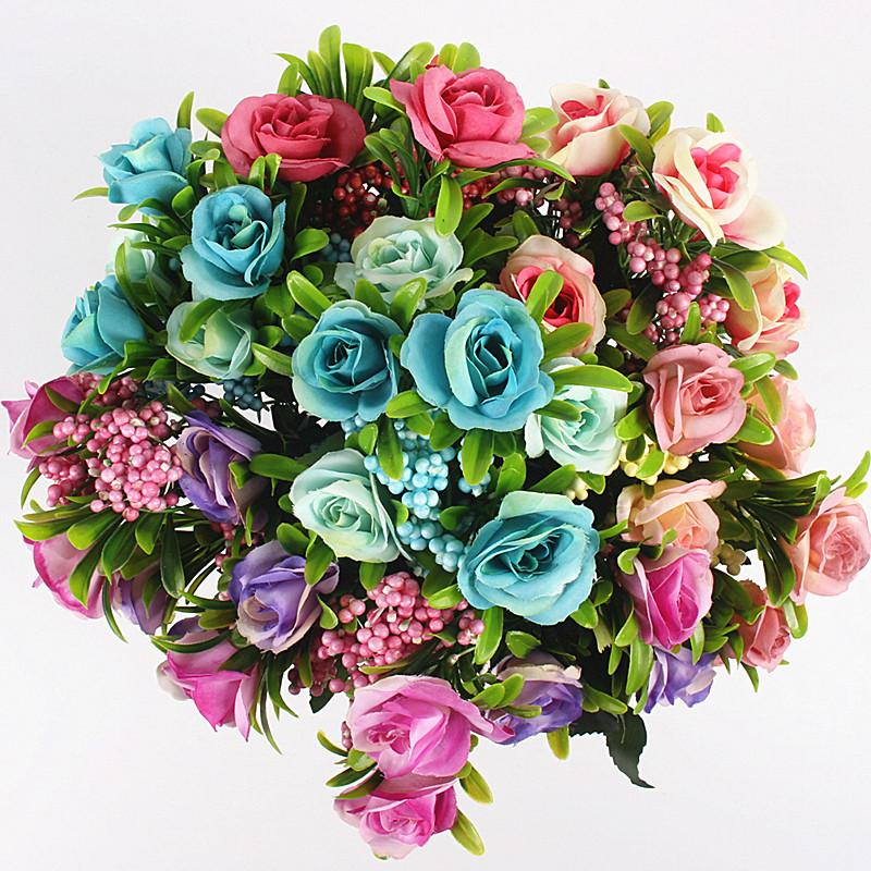 Artificial 6 Heads Oil Painting Roses Flower For Weeding Home Party Decoration Artificial Plants Decorative Silk Flowers