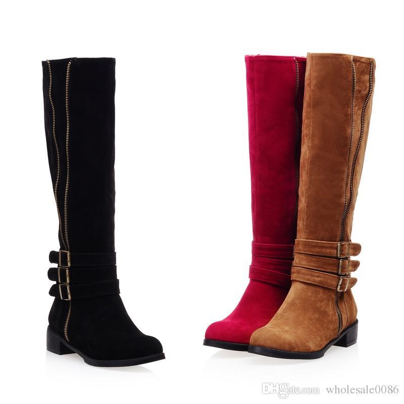 86c0901bcf2 Acheter Faux Suede Chaussures Plate Forme Haute Talon Zip Boucle Bottes  WB356 New Hot Fashion Femmes Rouge