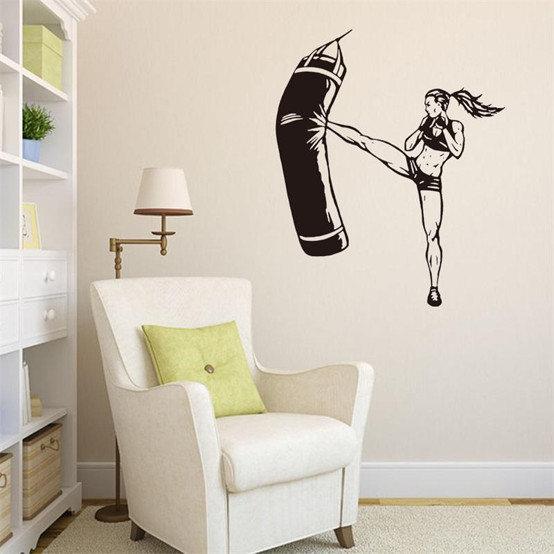 57x69cm Boxing Practice Sport Girl Wall Sticker Peel And Stick Removable  Art Mural Decal For Home Decoration Childrenu0027S Bedroom Kids Room Removable  Wall ...
