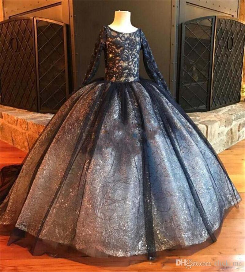09efa469b0ab Sparkling Black Long Sleeves Girls Pageant Dresses Lace Beads ...