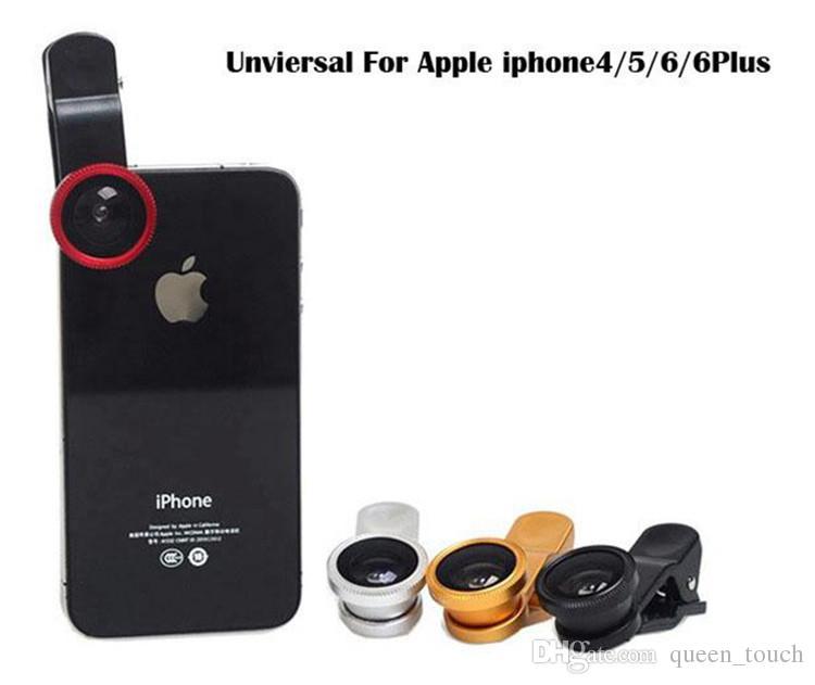 3 in 1 Universal Clip Fischauge Weitwinkel Makro Telefon Fisheye Glas Kameraobjektiv für iPhone Samsung Günstigen Preis + Beste Qualität