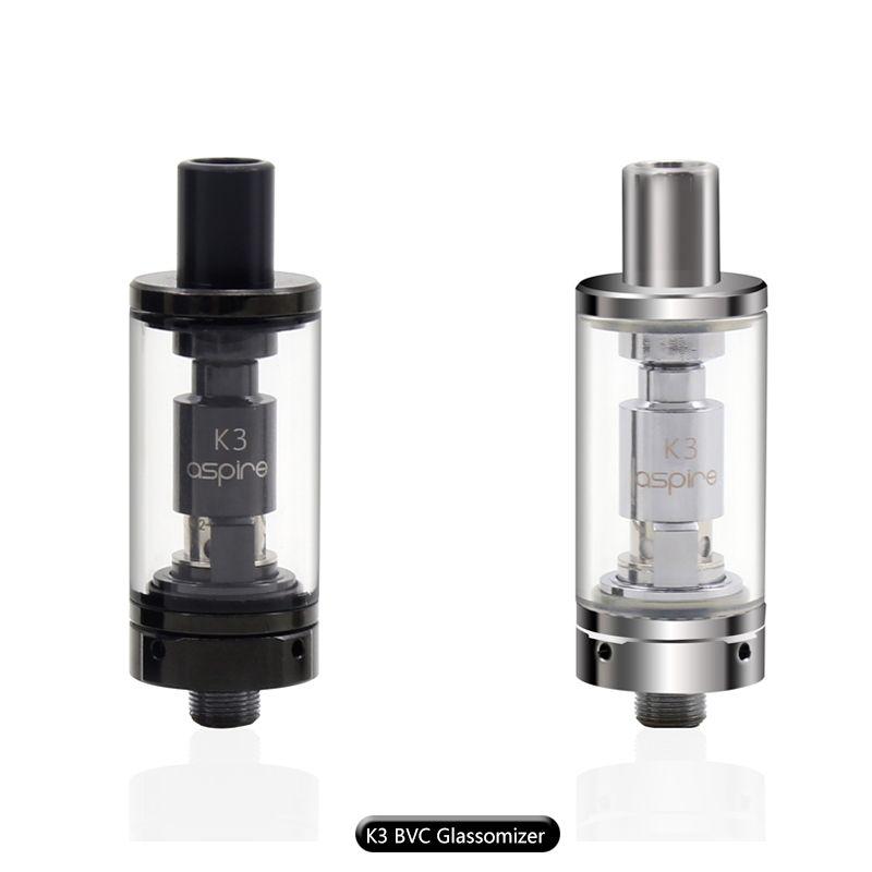 100% Original Aspire K3 Tank BVC Glassomizer 2.0 ml Capacity with Organic cotton 1.8 ohm Nautilus BVC Coils Aspire K3