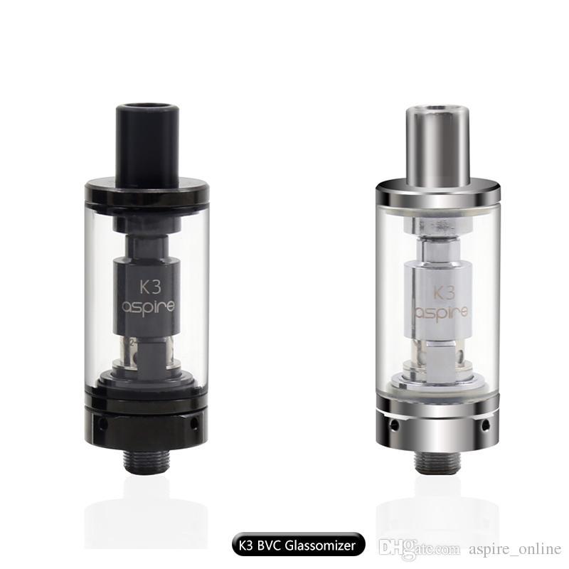 Auténtico Aspire K3 Tank BVC Glassomizer 2.0 ml Capacidad con algodón orgánico 1.8 ohmios Nautilus BVC Bobinas Envío gratuito