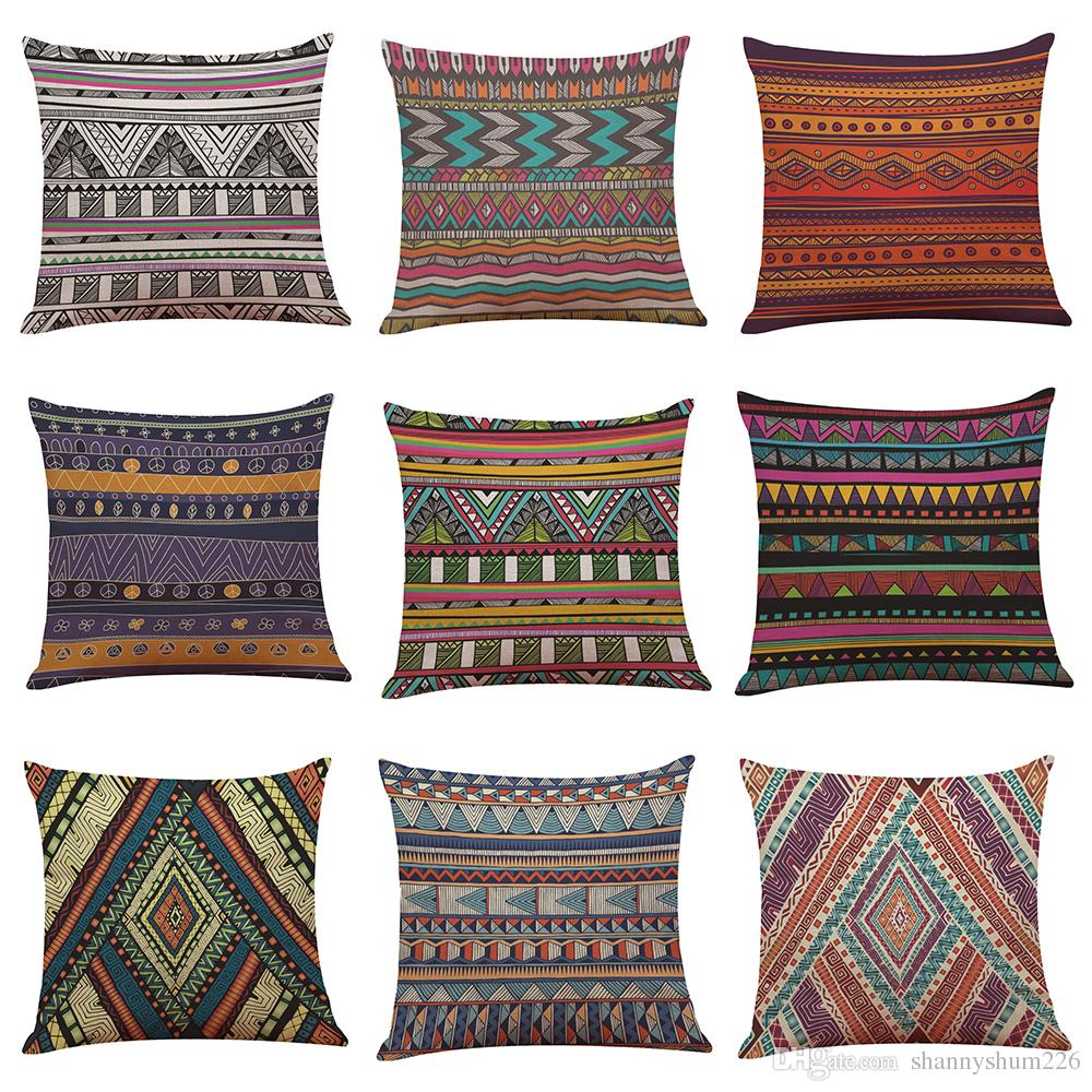 Creative Geometry Indian Pattern Linen Cushion Cover Home Office