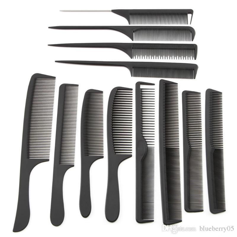 Commercio all'ingrosso 12 di stile di saloni di capelli neri taglio pettine della coda dei capelli del carbonio Pettine disegno differente Pro Salon Barber Styling Tools