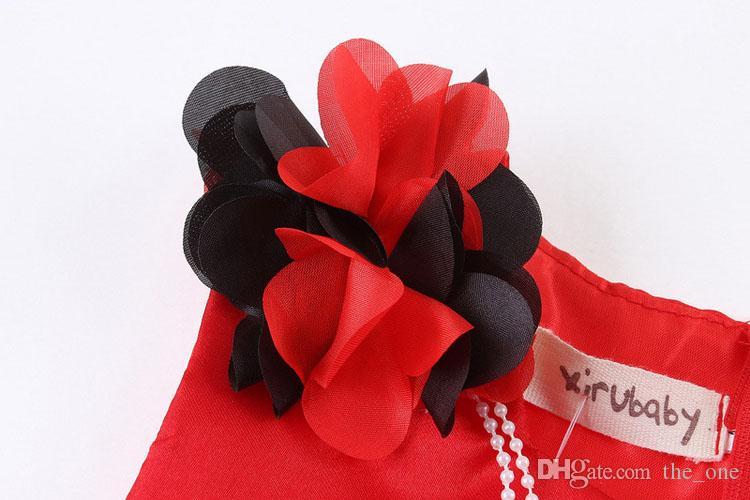 PrettyBaby 2016 Sommermädchen rote Kleidqualität sleeveless Kuchenkleid-Halskettenzusätze Ballkleid geben Verschiffen frei