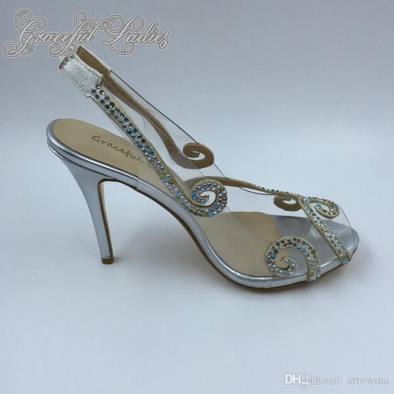 Sapatos de Casamento de Imagem Real de prata 2016 Womens Sandálias de Cinta de Volta Sapatos de Salto Alto De Cristal De Noiva Barato Senhoras Noite Sapatos Peep Toe