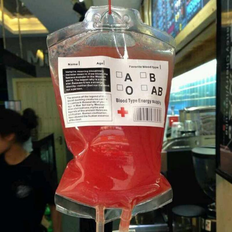 350 ملليلتر عصير الدم مشروب كيس هالوين الحدث حزب اللوازم الحقيبة الدعائم مصاصي الدموي أكياس حزمة قابلة لإعادة الاستخدام C258