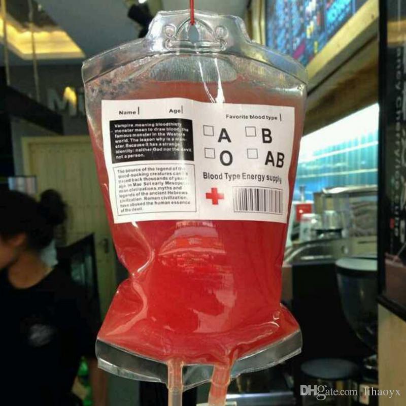 350ML عصير شراب الطاقة حقيبة هالوين الحدث الحزب إمدادات الحقيبة الدعائم مصاصي الدماء قابلة لإعادة الاستخدام أكياس حزمة c258