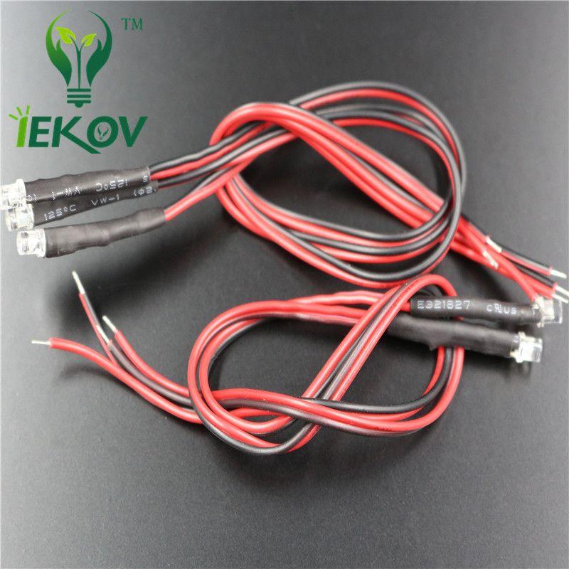 500 unids 3 mm 12 v DC tapa plana Verde LED Pre-Cableado Resistor Gran Angular lámpara bombilla emite diodos 20 CM para coche juguete DIY