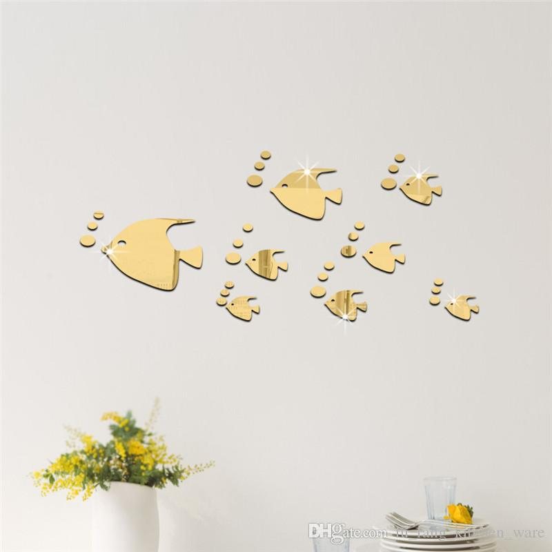 mirror wall stickers gold silver Creative Home Decor DIY cute fish Carved bedroom Removable Decorate art Sticker 2017 3d stickers wholesale