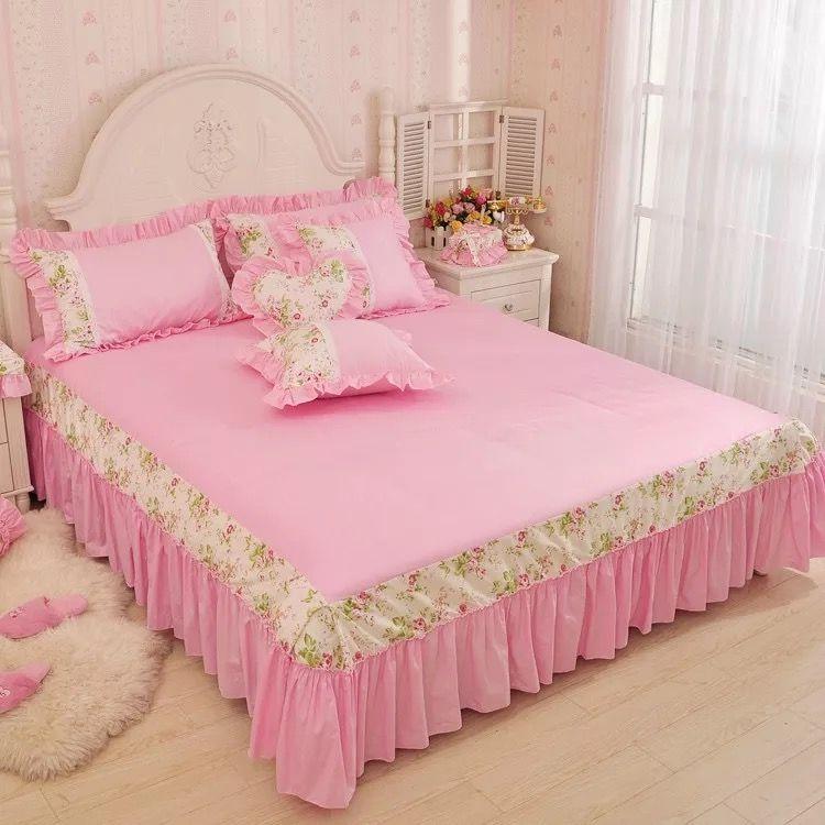 PINK 여자 공주님 이불 공주님 이불 세트 깃털 이불 커버 깃털 이불 커버 세트 무료 배송 퀸 사이즈 침대 침대 세트