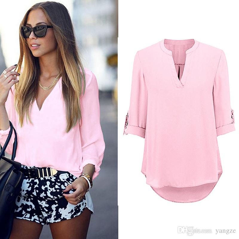 238aa032042 Hot New Sexy Girls Women s T Shirt with V Neck Sexy Lady Long Sleeve Tops  Fashion Shirt Casual Soild Blouse LX3534