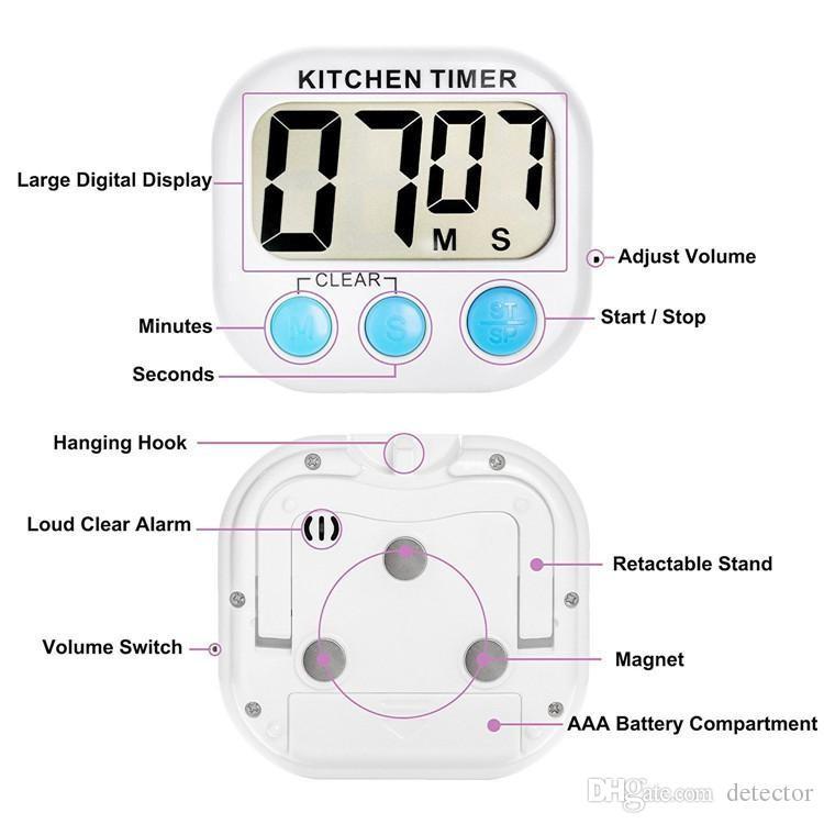 Yeni Büyük LCD Mutfak Pişirme Zamanlayıcı Count-Aşağı Yukarı Saat Loud Alarm Manyetik geri sayım zamanlayıcı Ücretsiz kargo