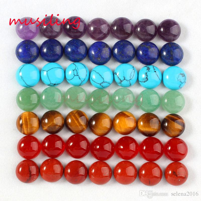 2016 Jewelry Hot Wholesale 10mm Natural Gem Stone Round Shape Buttons Cabochon Beads Jewelry Findings Accessories Diy Jewelry Making